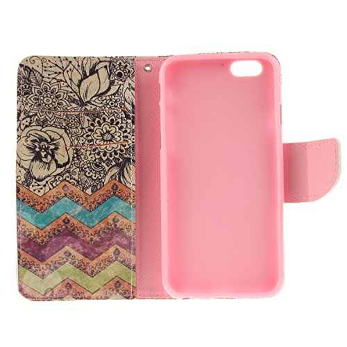 Ooboom® iPhone 5SE Hülle Flip PU Leder Schutzhülle Tasche Case Cover Wallet Brieftasche Stand mit Kartenfächer für Apple iPhone 5SE - Leopard Welle Blume