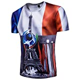 T-Shirt Coupe du Monde 2018,Été Homme Respirant Maillot de Football Manches Courtes Garçon T-Shirt Imprimé Fleurs Bleu France ELECTRI (L, Bleu)