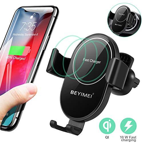BEYIMEI Caricabatterie per auto Qi, supporto per telefono cellulare con morsetto automatico, ricarica rapida 10 W, adatto per iPhone 11 Pro Max/Xs Max/Xr/X / 8/8 Plus, Galaxy S9 / S8 / S7 / S6