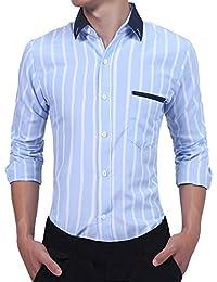 BUSIM Men's Long Sleeve Shirt Fashion Personality Vertical Stripe Print Splicing Slim Fashion T-Shirt Button Top...