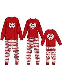 Jaysis Weihnachten Eltern-Kind Familien-Pyjamas, Kinderfamilie passende Weihnachten Hirsch Hose Set Weihnachten Nachtwäsche Nachtwäsche Outfit