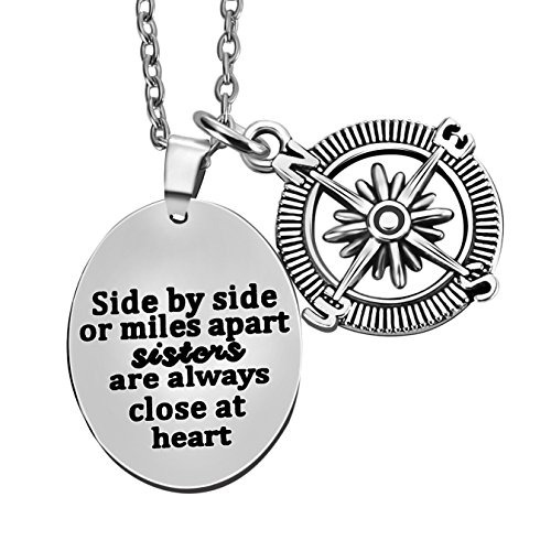 Side by side/miles apart sister always close at heart - Compass Pendant Necklace Women Girl Family Gift