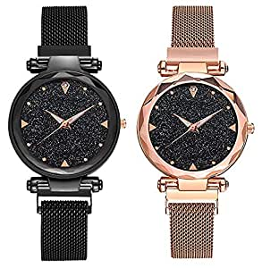 TIMESOON Analogue Quartz Movement Black dial Combo Wrist Watches for Ladies & Girls Pair of 2