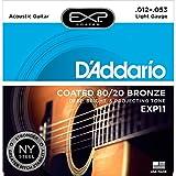 D'Addario EXP11 Satz mikrobeschichtete Bronzesaiten (80/20) für Akustikgitarre 012' - 053'