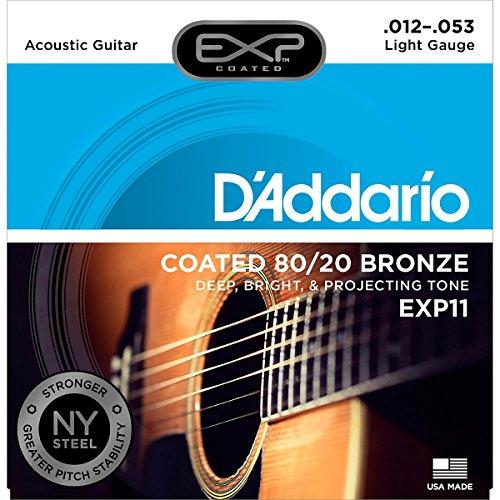 D'Addario EXP11 - Juego de cuerdas para guitarra acústica, material de bronce.012 - .053
