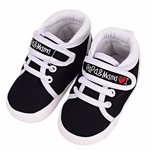 Auxma Niedlich Kind Baby Säugling Junge Mädchen weiche Sohle Kleinkind Schuhe Leinwand Sneak (0-6 Monat, Schwarz) (Jungen-woll-socken)