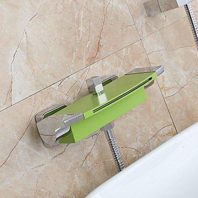 Luxurious shower Luxuriöses Badezimmer Dusche Wasserhahn Chrom fertig Wasserfall Badewanne Armatur mit Handbrause Duschkopf Wasserhahn Set Wandhalterung, Ventil Grün Block Tippen (Valve Abzieher)