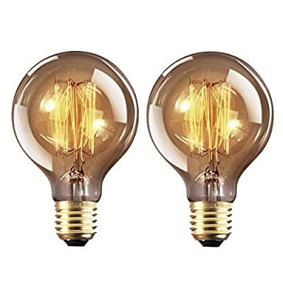 YUNLIGHTS Vintage Edison Light Bulbs Retro Old Fashioned Style Screw Bulb Dimmable Decorative Spiral Filament Lamp E27 G80 220-240V 40W Warm White Lights 2 Pack by YUNLIGHTS