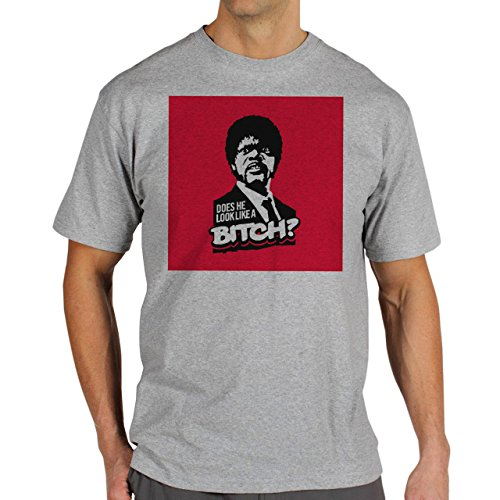 Pulp Fiction Ouentin Tarantino Movie Does He Look Like A Bitch Red Background Herren T-Shirt Grau
