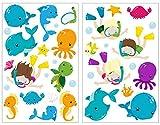 Samunshi® 34-teiliges Ozean Tiere Wal Fisch Krabbe Schildkröte Wandtattoo Set Kinderzimmer Babyzimmer in 5 Größen (2x16x26cm Mehrfarbig)