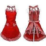 Hyzrz Tablier femme avec poches et nœuds fantaisie Style rétro/serveuse de café Rouge