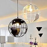 Sanyi Retro Vintage Vivid hierro, forma de globo lámpara E27lámpara de techo lámpara de araña lámpara de techo colgante (lámpara sin bombilla (diámetro: 28cm), color negro