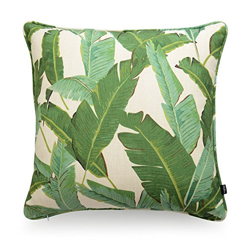 Hofdeco Premium Decorative Cushion Throw Pillow Cover HEAVY WEIGHT Cotton Linen Modern Greenery Tropical Banana Palm Leaf 20×20 Inches 50x50cm