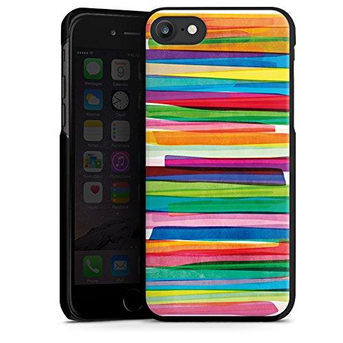 Apple iPhone 7 Tasche Hülle Flip Case Streifen Wasserfarbe Bunt Hard Case schwarz