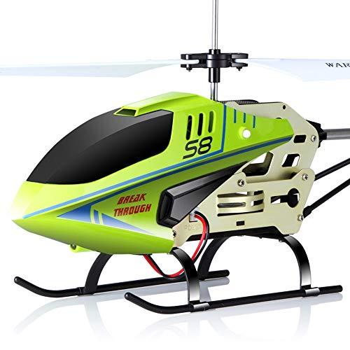 Wapipey S8 rc Hubschrauber gyro 2.4g Fernbedienung Hubschrauber Flugzeuge mit Splitter beständig blinkende licht Legierung Spielzeug für Kinder Geschenke (Color : Green)