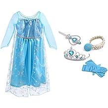URAQT Traje del Vestido/Traje de Princesa de la nieve Vestido infantil Disfraz de Princesa