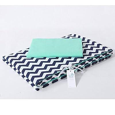 Sevira Kids - Juego de protector y cojines para cuna (14 piezas, algodón ecológico, fundas reversibles), diseño de zigzag