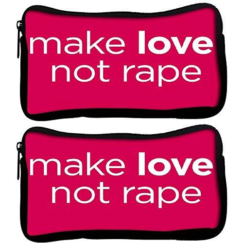 Preisvergleich Produktbild Snoogg 2Stück Make Love nicht Vergewaltigung 2793Poly Leinwand Student Pen Bleistift Fall Münzfach Tasche Kosmetik Make-up Tasche