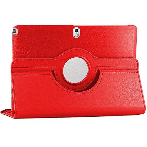 ebestStar [Kompatibel Samsung Galaxy Tab Pro 12.2 Hülle [SM-T900, Galaxy Note Pro 12.2 P9000: 295.6 x204 x8mm, 12.2''] Rotierend Schutzhülle Etui, Schutz Hülle Ständer Rotating Case Cover Stand, Rot