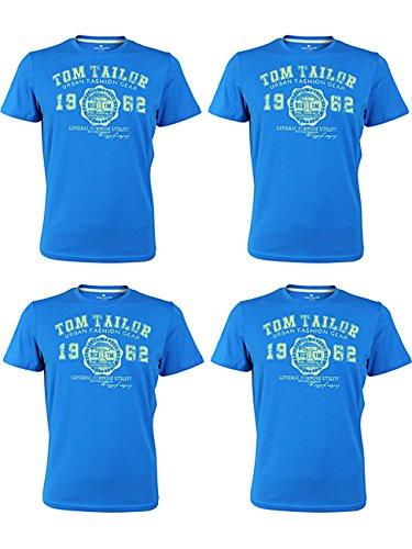 TOM TAILOR Herren Rundhals T-Shirt Logo Tee Basic Verschiedene Farben und Farbvarianten 4er Pack, Größe:3XL, Farbe:4X Danish Blue (6273) -