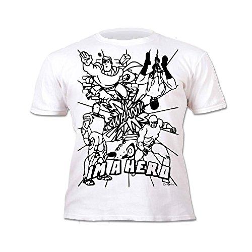 00192d7bf0f13 Kinder T-Shirt Jungen Helden. Zum Bemalen und Ausmalen mit Vordruck.  Mitgeliefert 6