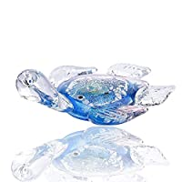 prbll Glass Turtle Paperweight Handmade blowing Colored Animal Design Home Garden Decorative,Blue Color