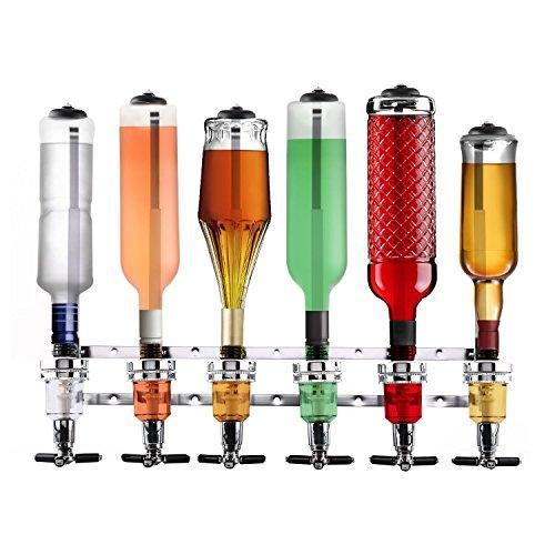 oneConcept Hazlehov Sixtett Getränkespender Getränke-Dosierer Flaschenhalter (für 6 Flaschen von 0,7 bis 1 Liter, 6 Dosierer mit Schnellwechselmechanismus, Wandmontage) silber