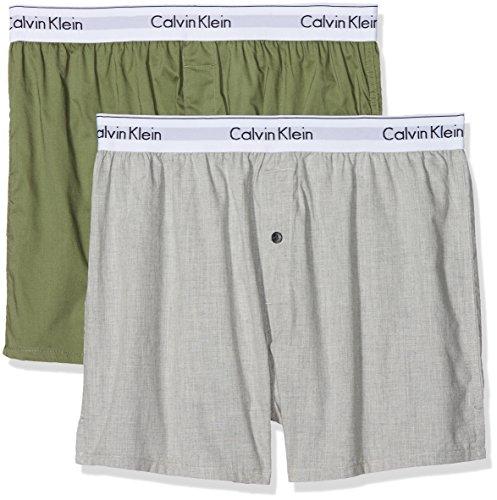 Calvin Klein Herren Boxershorts Boxer Slim 2PK, 2er Pack, Mehrfarbig (Heather Grey/Olivine Hgo), X-Large