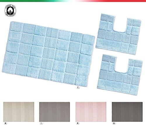 Tappeto bagno multiuso 100% cotone morbido assorbente lavabile in lavatrice mod.afef set 3 pezzi grigio (g)