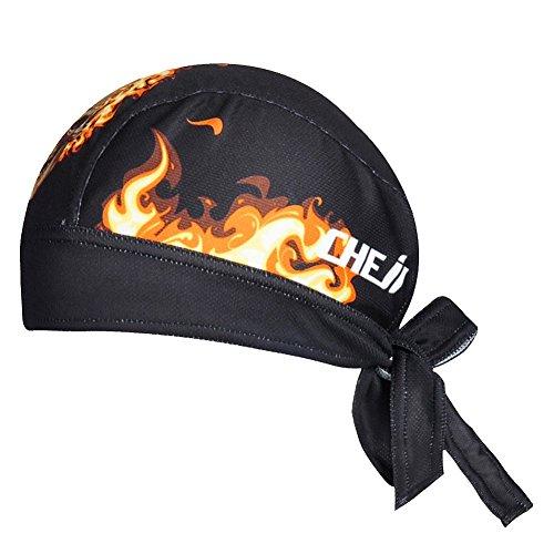 Ksweet Anti-UV Bandana Casquettes Respirant Cyclisme Serrage Moto Outdoor écharpes Balaclava Bonnets (Noir-fire, Taille unique)
