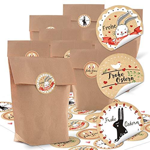 Logbuch-Verlag Petits sachets de Pâques Marron 14 x 22 x 5,6 cm + Lapin de Pâques Ronds Autocollants Ronds pour Pâques Cadeau de Pâques Beige/Rouge/Blanc, Papier, Lot de 48