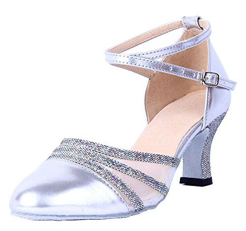 Honeystore Damen's Knöchelriemen Schnalle Lackleder Tanzschuhe Silber 5.5 UK