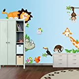 ufengke® Comic-Tiere Niedlichen Löwen Affen Giraffen Nashorn Wandsticker, Kinderzimmer Babyzimmer Entfernbare Wandtattoos Wandbilder