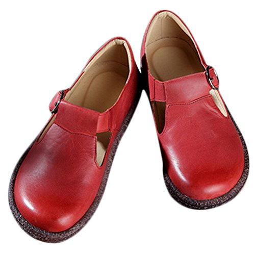MatchLife Femmes Retro Cuir Plates Rondes Chaussures Rouge