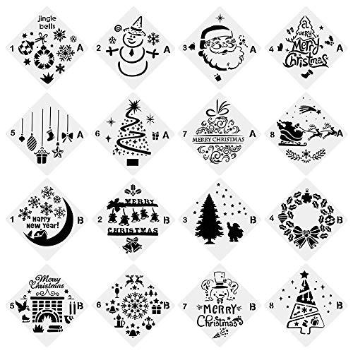 Novelfun stampini natalizi Bullet Gazzetta stencil, set di 16-Buon Natale, Babbo Natale, albero di Natale, fiocchi di neve, renne, lampadine per carta DIY disegno pittura progetti creativi