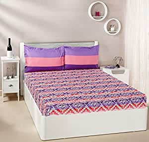 Amazon Brand - Solimo Mural Stripes 144 TC 100% Cotton Double Bedsheet with 2 Pillow Covers, Violet and Pink