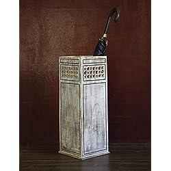Store Indya, Pasillo de entrada decorativo - Soporte de paraguas de madera de estilo rural y baston de baston Soporte de cana - Organizador de almacenamiento multiuso