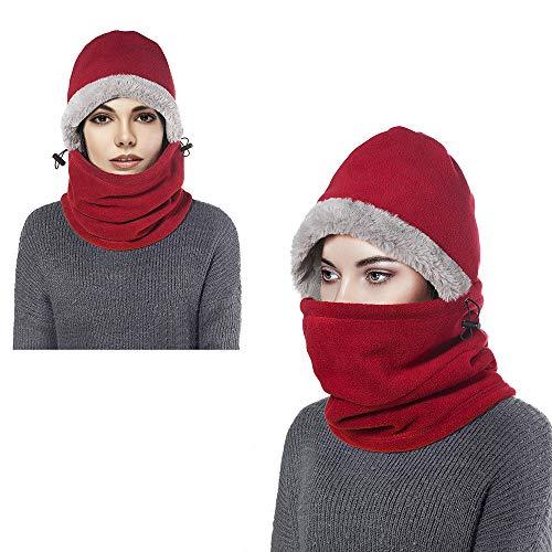 Enkarl passamontagna in pile unisex, maschera per il viso antivento per sport all'aperto copricapo con scalda collo (rosso)