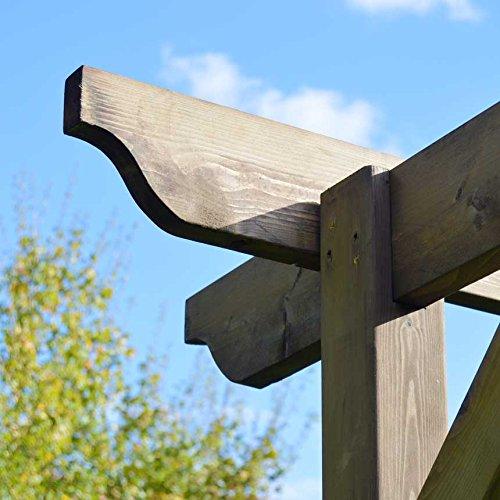 Rutland County Garden Furniture Wooden Garden Structure Pergola 3.6m x 3.6m - Rustic Brown - Sculpted Rafter