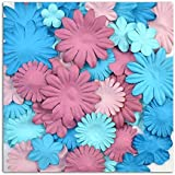Toga AA29 Lot de 75 Fleurs unies Papier Bleu/Violet 13 x 16 x 0,5 cm