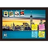 ArtzFolio Sunrise Over New York City, USA Printed Bulletin Board Notice Pin Board cum Dark Brown Framed Painting 17.5 x 12inch