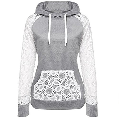 Hoodie Sweatshirt Damen Btruely Frau Herbst Patchwork Pullover Mode Outerwear Langarm Jacket Mantel (XL, Grau) (Super-reißverschluss-stiefel)