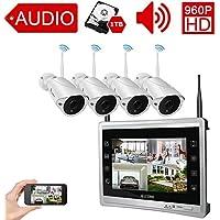 """Luowice Audio Überwachungskamera Set Außen Kabellos mit 4 x 960P Wlan WiFi Sicherheitcameras 11"""" HD 1.3 Megapixel Monitor Vorinstalliert 1TB Festplatte Videoüberwac für innen außen Bereich"""