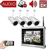 Luowice Audio Überwachungskamera Set Außen Kabellos mit 4 x 960P Wlan WiFi Sicherheitcameras 11' HD 1.3 Megapixel Monitor Vorinstalliert 1TB Festplatte Videoüberwac für innen außen Bereich