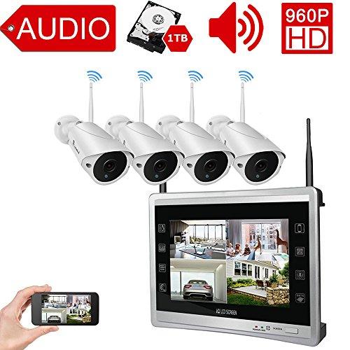 Luowice Audio Überwachungskamera Set Außen Kabellos mit 4 x 960P Wlan WiFi Sicherheitcameras 11' HD 1.3 Megapixel Monitor...