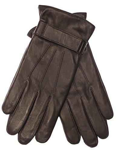 EEM Herren Lederhandschuh MORTEN mit Klettverschluss und Fleecefutter echtes Leder gefüttert warm, braun, Größe L Leder-handschuhe Herren Braun