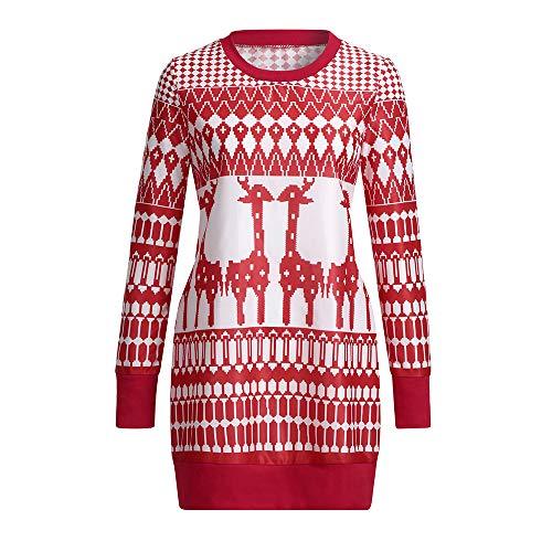 MIRRAY Damen Weihnachten Sweatshirt Boho Maxi Summer Beach Langes Cocktailparty Blumenkleid Mini ()