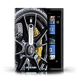 Stuff4 Custodia/Cover Rigide/Prottetiva Stampata con Il Disegno Cerchi in Lega per Nokia Lumia 800 - Nero/Giallo