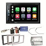 Pioneer AVIC-Z610BT Navigation CarPlay USB CD DVD Bluetooth MP3 WMA Autoradio 2-Din Naviceiver Einbauset für Opel Vectra Omega Corsa Signum Meriva, Farbe der Radioblende:Schwarz