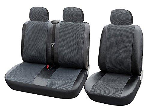 WOLTU AS7323 Universal Auto Sitzbezüge für Transporter, 1+2 Sitzbezug Schonbezüge aus Polyester & aus Polyester & Kunstleder Schwarz-Grau
